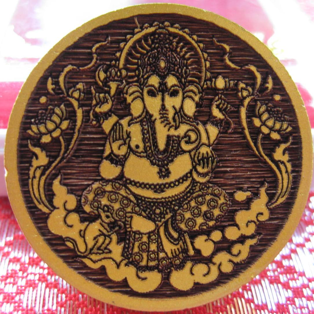 Small Ganesh Amulet wood carved