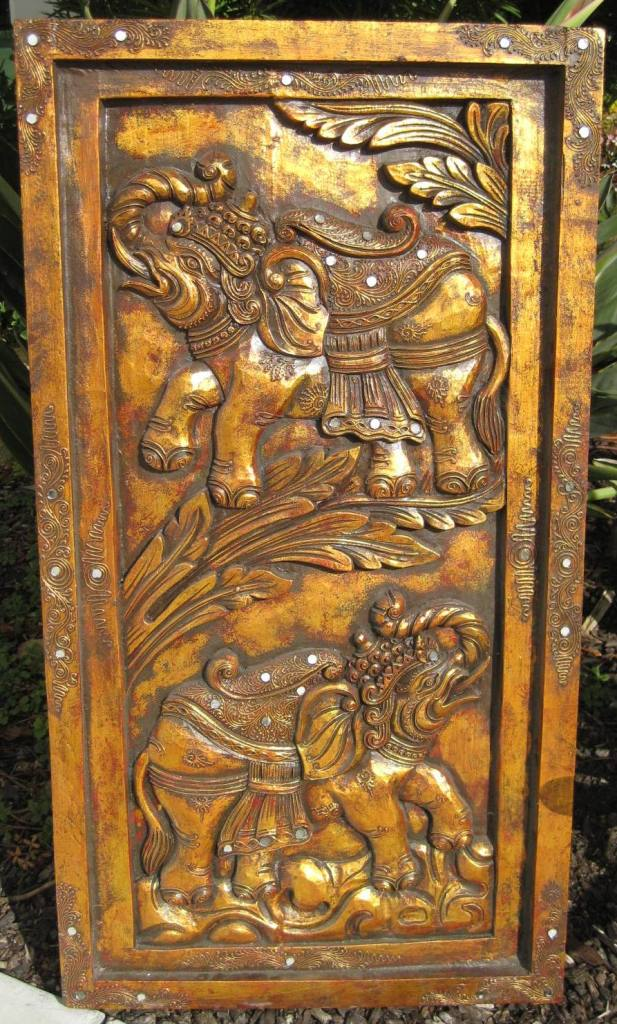 Decorative Gold Elephants Panel