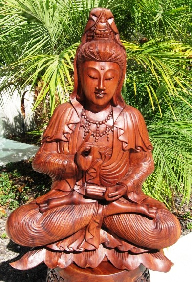 Hand Carved Guan Yin Statue from Bali