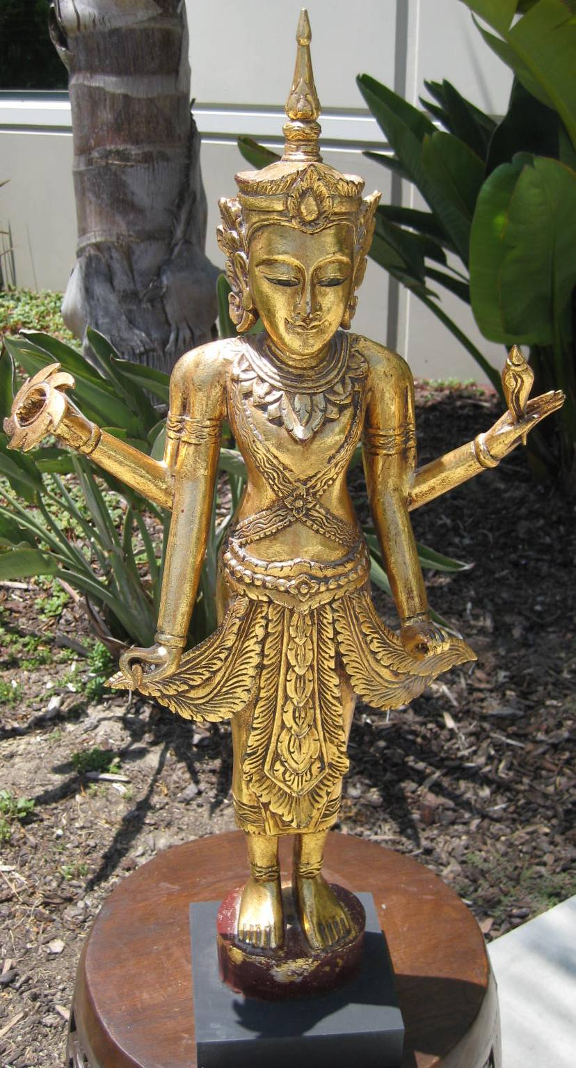 teak wood four arms vishnu