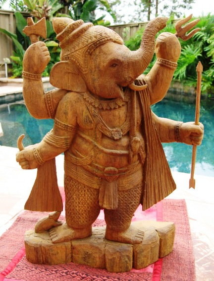 Carved Teak Wood Ganesh