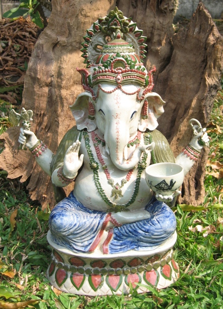 Celadon Ceramic Ganesh Statue with Stand
