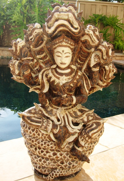Hand carved Shiva on Naga Celadon