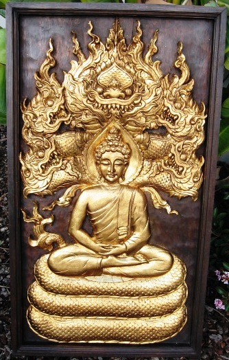 Hand Carved Buddha on Naga Teak Wood with Gold Leaf