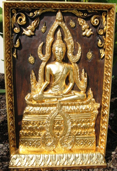 Hand Carved Teak Panel Shinnarat Buddha with Gold Leaf