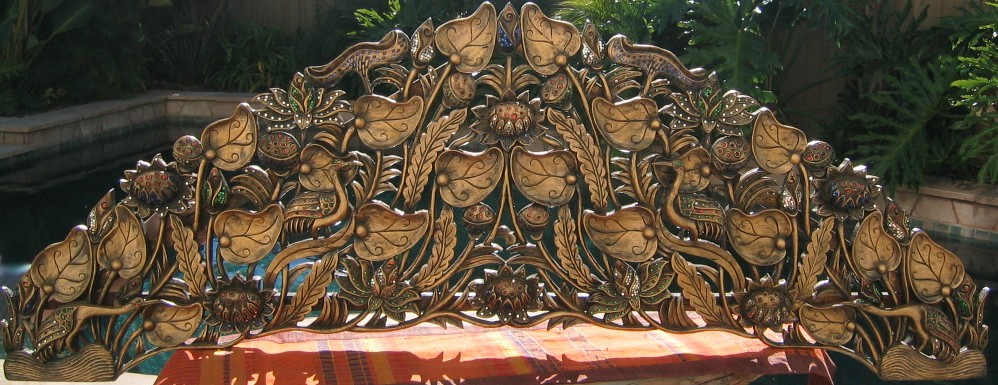 Hand Carved Lotus and Vine Headboard