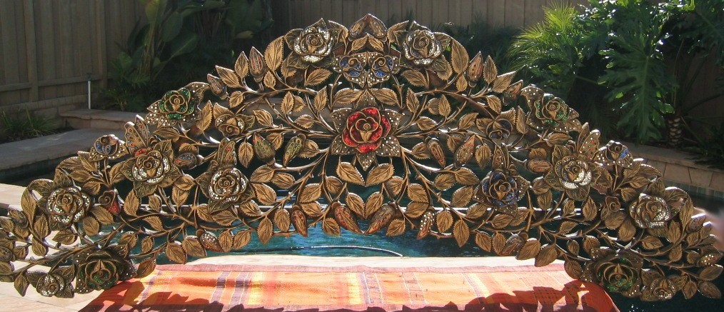 Hand Carved Roses and Vines Headboard