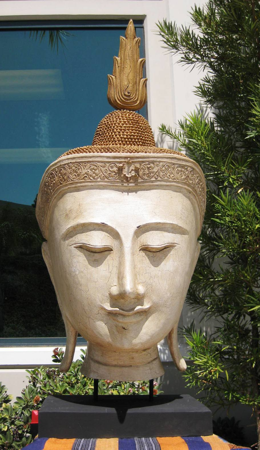 Larger than Life Size Buddha Head Antique Finish