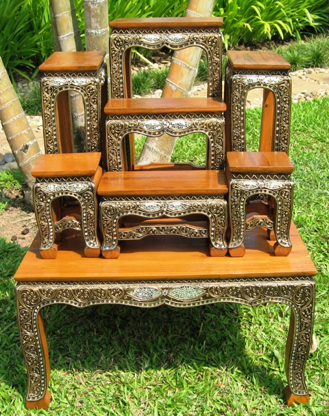 Thai Buddhist Altar Table set with colored glass