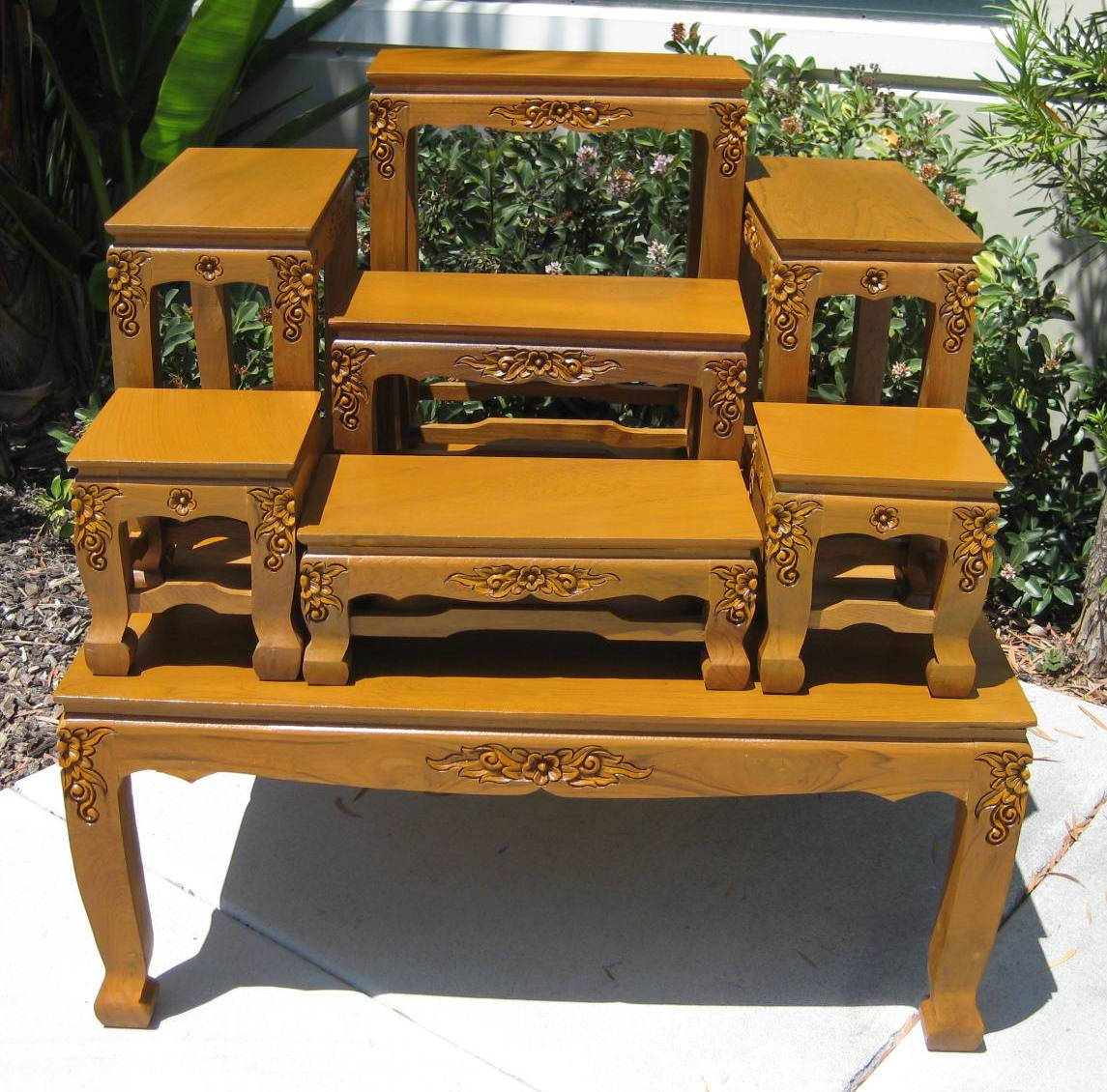 Large Thai Buddhist Altar Table with Carved Legs