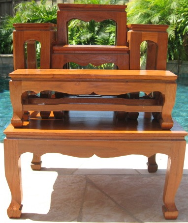 Thai Buddhist Altar Table Natural Finish