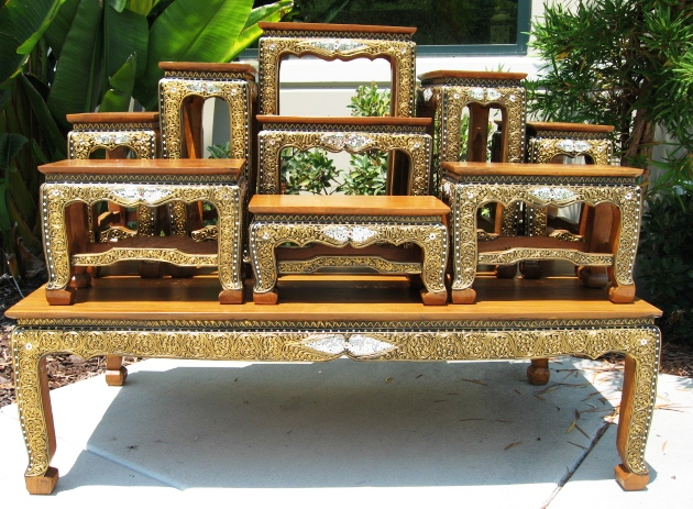 Set of 10 Colored Glass Altar Table Set