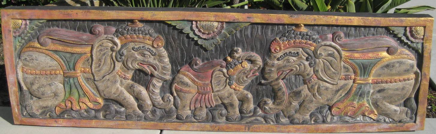 Extra Large Hand Carved Antique Elephants Panel