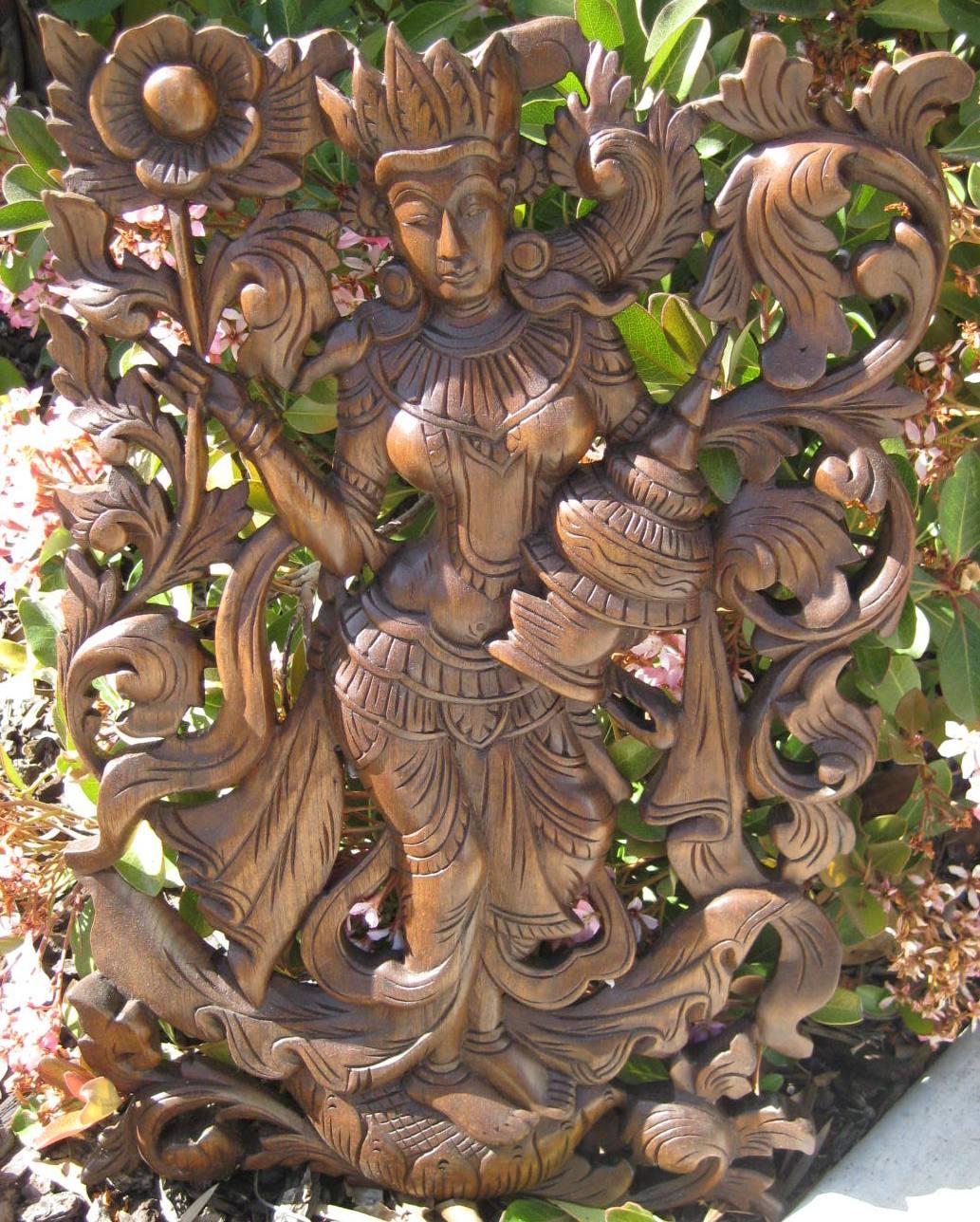 Thai mythological figure teak panel