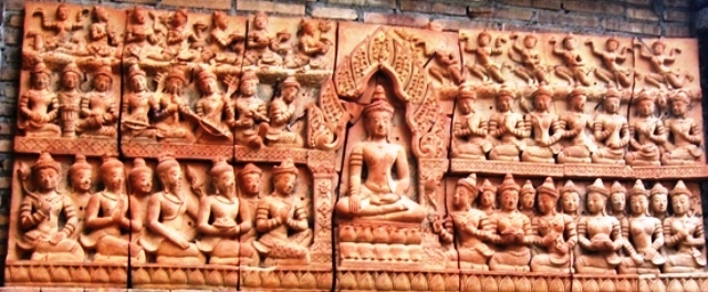 Hand Carved Terra Cotta Wall Panel newly finished